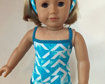 Teal and White Swimsuit 18 inch Doll Clothes  fitsAmerican Girl