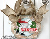"Woodland Style ""WINTER WONDERLAND"" Polar Bear Ice Skating Wall Art, Altered Art, Ornament, Wall Hanging, Kraft, Burlap,Paper Pieced"