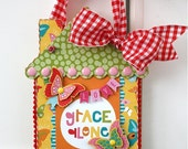"""Whimsical """"GRACE ALONE"""" Inspirational Wall Hanging, Altered Art, Home Decor, Paper Piecing, Illustrated Faith, Butterflies, Handmade"""
