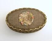 Antique French Vanity Box Metallic Lace Ombre Silk Ribbonwork Flowers Au Bon Marche Paris