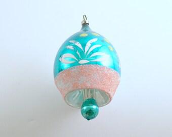 Vintage Glass Ornament Christmas Ornament Pink Aqua Drop Tear