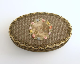 Antique French Vanity Box Metallic Lace Ombre Silk Ribbonwork Flowers Au Bon Marche Paris