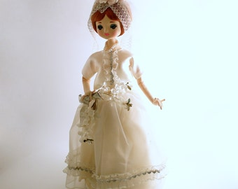 Vintage Bride Doll Big Eyed Pose Doll Musical Revolving AS IS