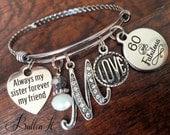 Sister Gift, 60th birthday, 50th birthday, 40th birthday, Best FRIEND Gift,  Milestone birthday, Bangle, Initial jewelry, birthday gift