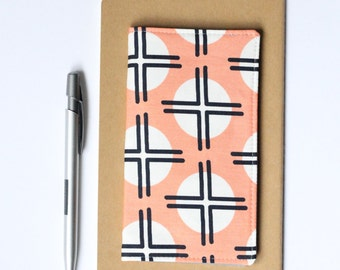 Checkbook Cover, Peach and Navy Fabric Check Book Holder