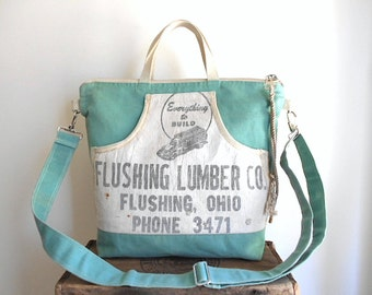 Lumber apron canvas zipper tote, crossbody bag - Flushing Lumber Co., Ohio River Valley - eco vintage fabrics