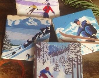 Skiing stone coasters - set of 4