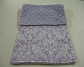 Lavender Damask Burp Cloth with Minky READY TO SHIP