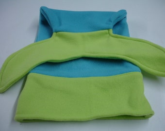 Mermaid Tail Bright Lime and Turquoise Fleece Blanket DOLL INFANT BABY Size 10 x 18 Ready to Ship On Sale