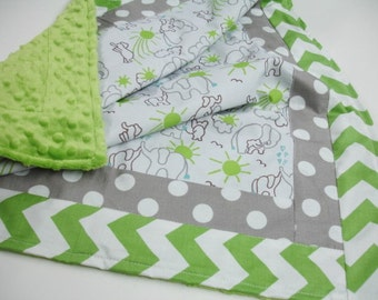 Elephants You Are My Sunshine Brown Gray and Green Minky Blanket You Choose Size MADE TO ORDER No Batting