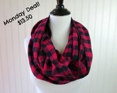 Red and Black Buffalo Plaid Scarf - Red Buffalo Plaid Scarf - Small Check Plaid -  Red Plaid Flannel Scarf - Circle Scarf