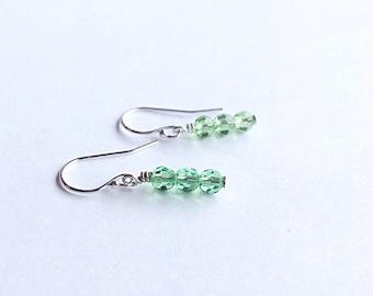 3 year anniversary - crystal earrings - crystal anniversary - 15th anniversary - crystal jewelry - Swarovski earrings - Peridot - 3rd