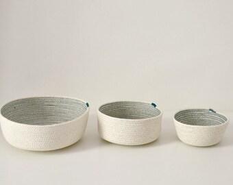 Cotton bowls, Coil rope baskets, Rope bowls, Scandinavian decor, Stylish simple decor, Cotton housewares, Baskets and bowls, Rope baskets