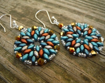 Metallic Blue, Gray, and Copper Medallion Earrings