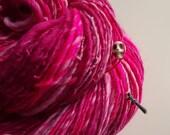 Handspun Art Yarn - PINK WARRIOR - Pink, Rose, Skulls, Swords. Genderbender, Defying Stereotypes. Gift for Knitter, Crocheter. 234 y, 3.4 oz