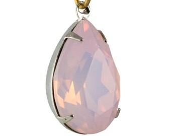 Pink Opal Glass Teardrop Stones 1 Loop Silver Setting 18x13mm (2) par006ZZ