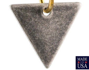 1 Hole Silver Ox Plated Triangle Charms Drops 13mm (10) mtl147V
