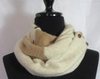 Infinity Cashmere Wool Scarf made from tan and ivory sweaters