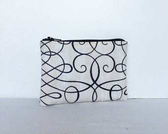 Little Zipper Pouch - Calligraphy Swirl Ink