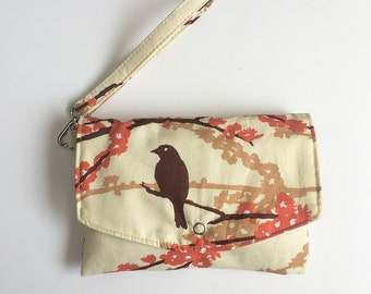 Wallet Pouch // Smartphone Case w/ Removable Strap - Sparrows in Bark