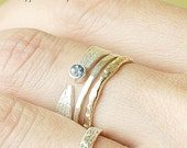 Valentines Day Sale Sapphire Leaf, Thick Band and Raw Ring Set | Stacking Rings | Nature Inspired Rings
