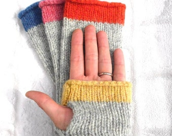 Green and Grey Fingerless Gloves, pure wool Made in Scotland, Mothers Day Gift