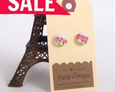 SALE- Sweet Button Earrings- Pink Sheet Floral