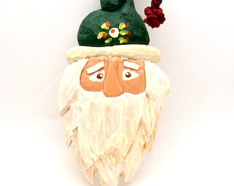 Handmade Carved Wood Santa Ornament