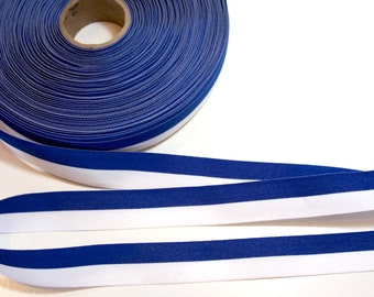 Striped Ribbon, Royal Blue and White Stripe Grosgrain Ribbon 7/8 inch wide x 10 yards, SECOND QUALITY FLAWED