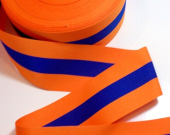 Wide Orange Ribbon, Orange and Blue Striped Grosgrain Ribbon 2 1/4 inches wide x 3 yards, SECOND QUALITY FLAWED