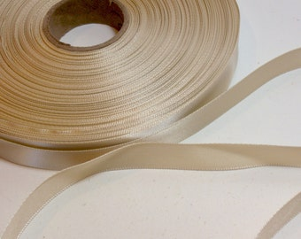 Champagne Ribbon, Single-Faced Light Champagne Satin Ribbon 5/8 inch wide x 10 yards