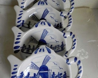 Delft Blue Teabag Holder Spoon Rest Vintage Hand Painted Blue Delft