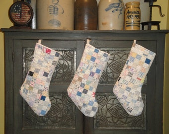 Christmas Stocking | Old Quilt Stocking | Vintage Quilt Stocking | Antique Quilt Stocking | Repurposed Old Quilt Stocking | Listing  For 1