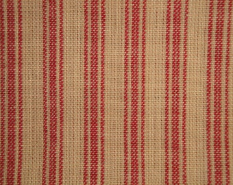 FLAWED Ticking Material | Red Stripe Material | Homespun Material | Homespun Ticking |  Quilt Material | Sewing Material | 22 x 44