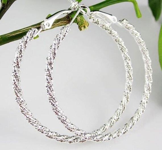 Large Diamond Cut Silver Hoop Earrings 5cm , 50mm*