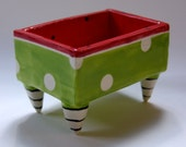 pottery Business Card Holder ceramic dish :) lime green, red with polka dots, black & white striped legs