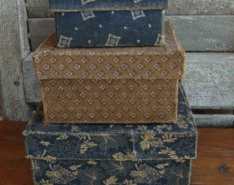Primitive Handmade Cloth covered boxes Indigo and Brown