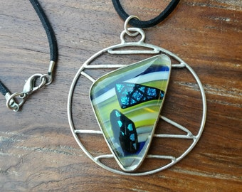 Fused Glass and Sterling Silver Pendant on Leather