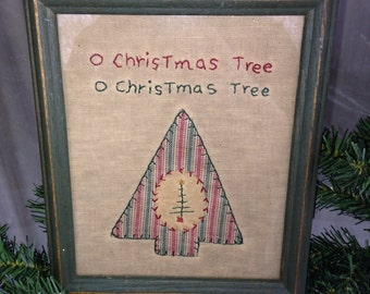 "Vintage 1985 Miss Fannie Turgeon's Memories in Cloth ""O Christmas Tree"" Primitive Framed Picture"