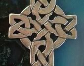 Vintage Celtic Cross Sterling Silver Bracelet Necklace Charm Signed