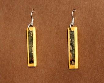 Buckey Burl and Yellowheart Wood Earrings J151202