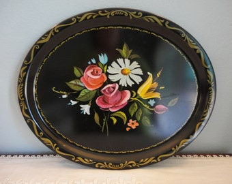 """Vintage Tray - Oval Black with Floral Design & Gilt Trim - 17"""" x 14"""" - Great Condition"""