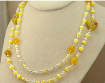 Art Bead Necklace Yellow White and Clear Vintage