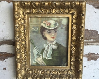 Vintage Turner Portrait Print - Pretty Girl in Gesso Frame - Tiny Art