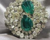 Vintage DeLizza & Elster Juliana Brooch Flawed Emerald
