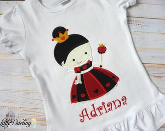 Queen of Hearts Alice In Wonderland Inspired Applique Embroidery Shirt - Personalization available