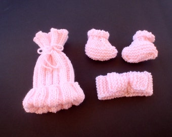 Hand-knitted soft pink baby set including hat, headband and booties/Baby girl gift/ Infant/Newborn/Premie/Baby girl hat, booties & headband