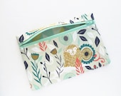 Lion Zipper Pouch Accessory Case Handmade light blue cottone print
