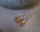 Imperial Topaz Gold Earrings, November Birthstone, Peach, Golden, Tangerine, Wire Wrapped, Long, Irisjewelrydesign