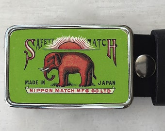 Vintage Red Elephant Belt Buckle. Belt buckle for men and women.  Vintage ad.